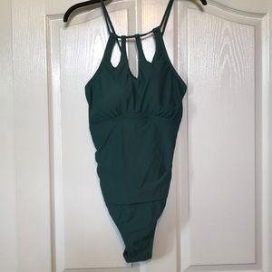 Teal Keyhole Halter style One Piece Swimsuit
